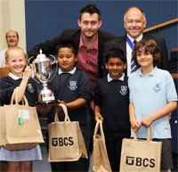 Trinity School receiving the Challenge Cup