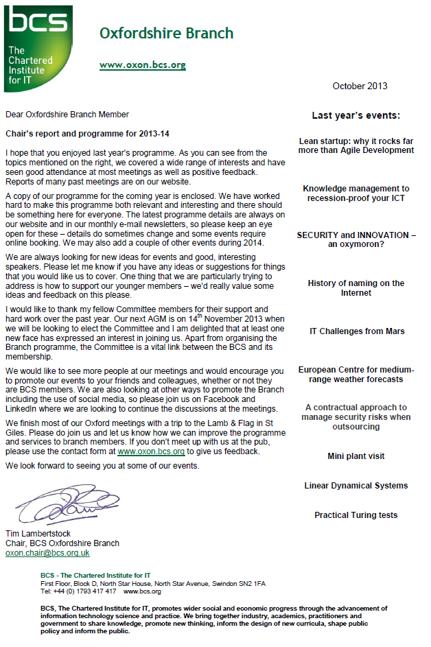 Chairs Letter 2013